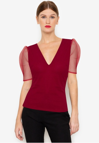 ZALORA OCCASION red Sheer Puff Sleeve Top 2842EAAF68A2B7GS_1