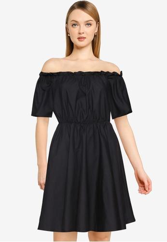 MISSGUIDED black Bardot Skater Dress B3C85AAAA184C8GS_1