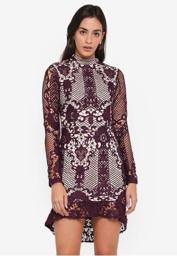 MISSGUIDED purple Lace Flippy Hem Flare Sleeve Bodycon Dress C1FE3AA42502A6GS_1