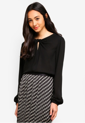 Sisley black Draping Knotted Blouse 13D49AA41D903FGS_1