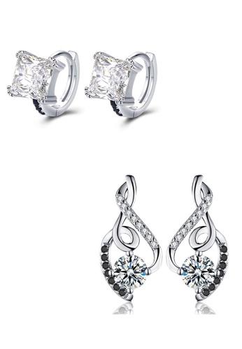 A-Excellence black Premium Elegant Black Silver Earring Set E1989AC3FC476BGS_1