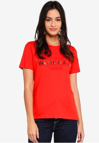 Pieces red Printed T-Shirt 2C069AAC259823GS_1