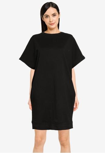 UniqTee black Drape Short Sleeve Dress with Pocket 8107FAA3F8D636GS_1
