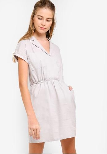 Something Borrowed beige Self Tie Lapel Mini Dress E07AEAA14515BDGS_1