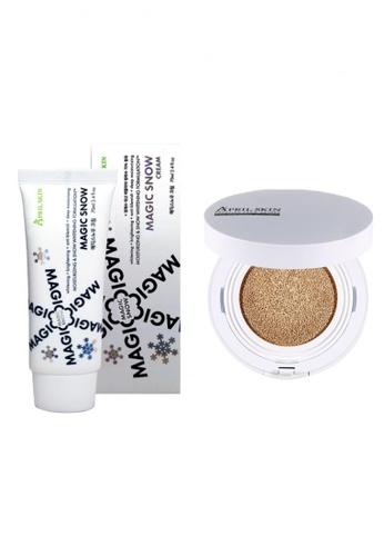 April Skin beige Magic Snow Cushion White #21 + Magic Snow Cream AP949BE56ZFJSG_1
