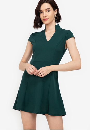 ZALORA WORK green Notch Neck Cap Sleeve Dress 749B4AA4519E25GS_1