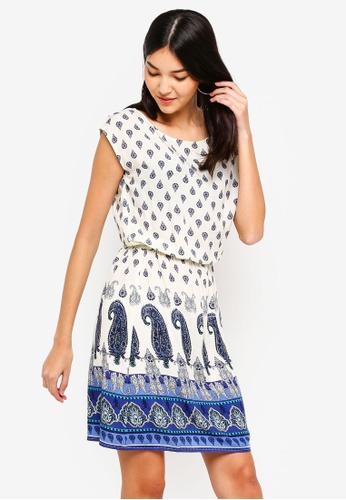 ZALORA white and multi Fit And Flare Dress 5239DAA6CA07EDGS_1