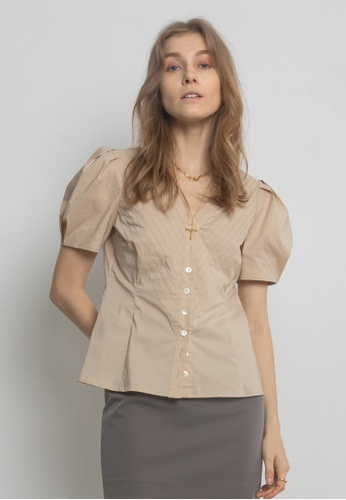 TAV beige [Korean Designer Brand] Cotton Pleats Puffy Sleeves Blouse - Beige A9E07AAE2EF91BGS_1