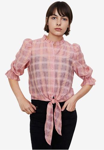 Urban Revivo pink Checked Printed Knot Shirt 2B3C5AA92D56A8GS_1