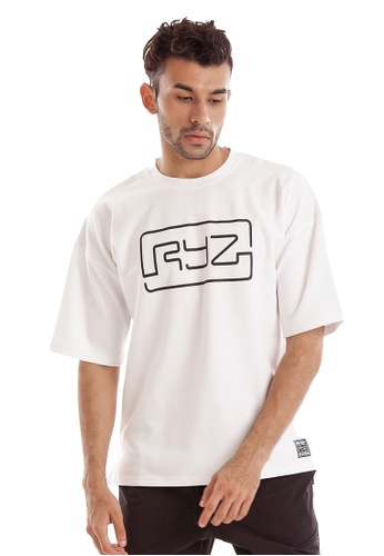 RYZ white RYZ Border White Short Sleeve Sweat T-Shirt. C6B1FAA4ABD120GS_1
