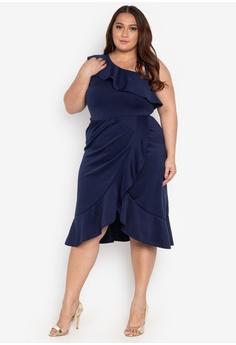 b4a55f70fce9d Ashley Collection Plus navy Plus Size Bridesmaid Dress 18D53AA5F40794GS 1