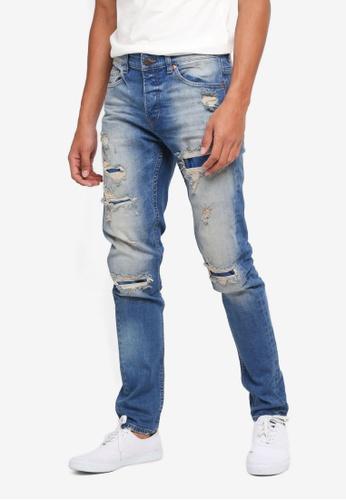Only & Sons 藍色 刷破修身牛仔褲 F2261AAE9D8EB4GS_1