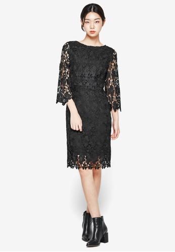 蕾絲透膚七分袖esprit服飾連身裙, 服飾, 洋裝