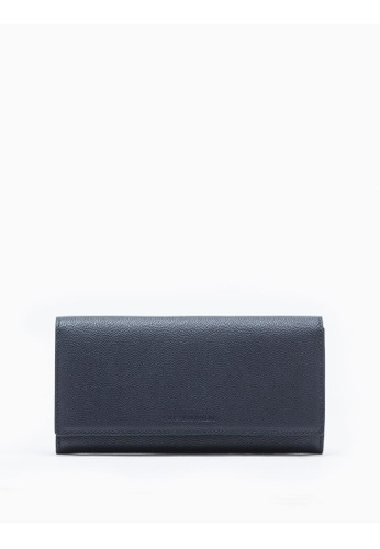 Calvin Klein navy Micro Pebble Long Flap Wallet F31E0AC585AE67GS_1