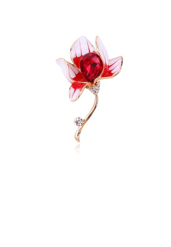 Glamorousky red Fashion and Elegant Plated Gold Red Flower Brooch with Cubic Zirconia C0C18AC93F8F67GS_1