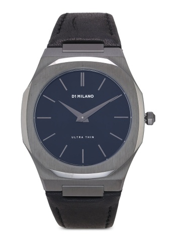 D1 Milano black and grey Ultrathin Gun Metal Black Leather Strap Watch 5B7CFAC6331079GS_1
