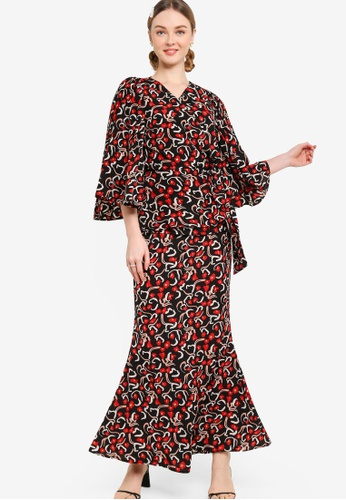 Lubna black and red FULL SLEEVE WITH BOW BELT KURUNG 11BEEAA5112511GS_1