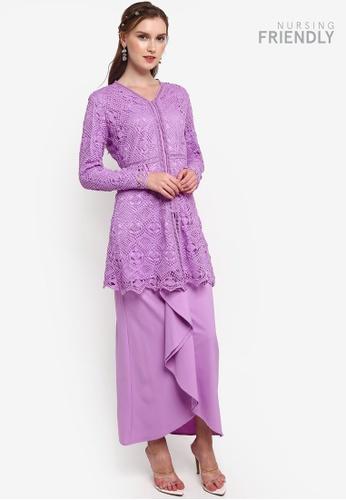 Lubna purple Waterfall Skirt Lace Kebaya 38FAFAAED5655FGS_1