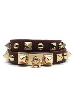 harga Gelang Yasmin Lilit Stut PU Leather Bracelet - Cokelat Tua Zalora.co.id