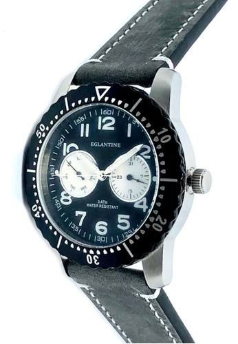 EGLANTINE black and grey and silver EGLANTINE® Terrenz Unisex Steel Quartz Watch Black Dial on Grey Leather Strap 4AC4CAC861996FGS_1