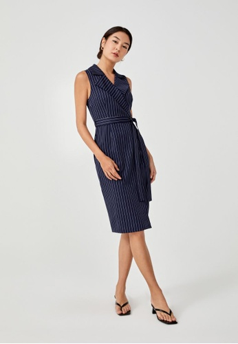 Love, Bonito blue Merida Pinstripe Tailored Midi Dress 296EDAACEFD1D6GS_1
