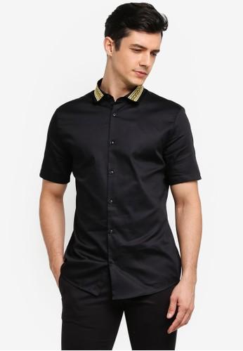 River Island black Embroidered Collar Shirt 7265CAA595D6F8GS_1