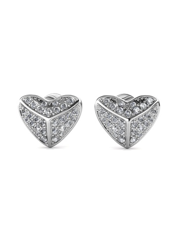 Her Jewellery silver Shield Heart Earrings -  Made with premium grade crystals from Austria HE210AC0GPWMSG_1