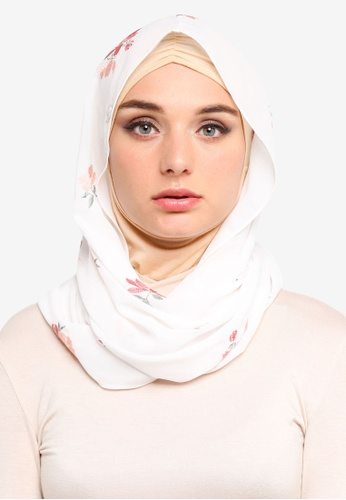 Zalia white and multi Embroidered Chiffon Snood 8DD39AA8C8572BGS_1