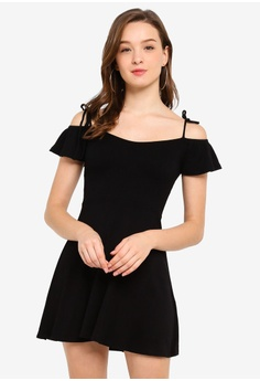 5039b0fd2b038 FOREVER 21 black Ribbed Open Shoulder Skater Dress 23987AA738A4A6GS_1