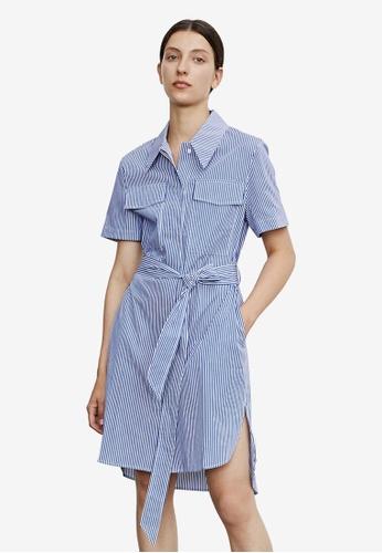 URBAN REVIVO blue Striped Shirt Dress C9932AAF0D7C6AGS_1