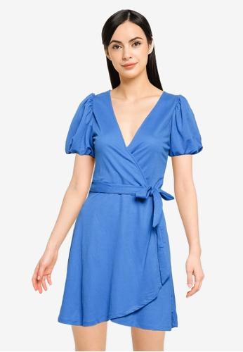 Springfield blue Short Sustainable Viscose Dress 54D3BAAEE695EBGS_1