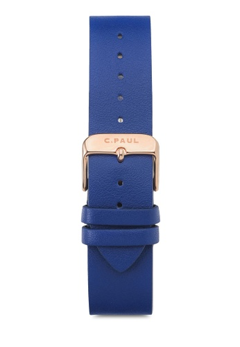 Christian Paul navy 35mm Leather Navy/Rose Gold Band CH275AC39TYYMY_1