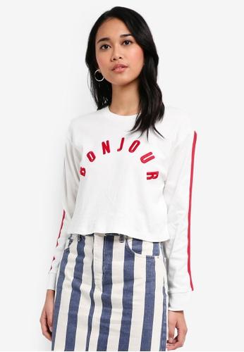 TOPSHOP white Petite Bonjour Long Sleeve T-Shirt B0D54AA635D3B0GS_1