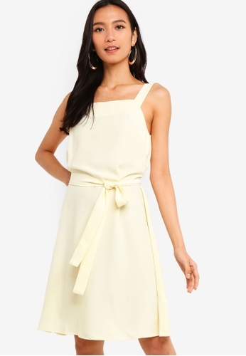 ZALORA 黃色 Square Neck Sleeveless Dress 70093AA8A5AB1BGS_1