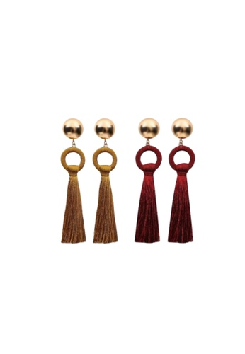 Loveaisyah multi 2 pairs Gold stud earring with Tassels 2FCF5ACA5B0FA6GS_1