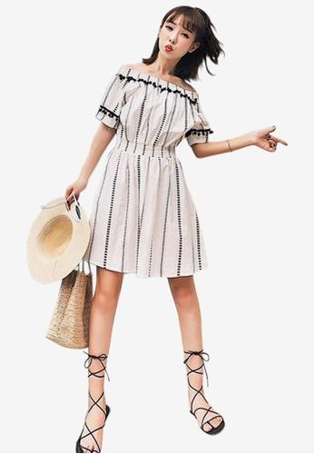 4a4056484663 Sunnydaysweety multi 2018 New Striped Off Shoulder One Piece Dress  96064AA800576DGS 1