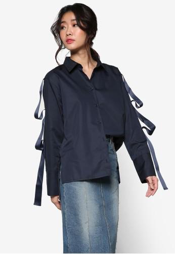 韓風格緞帶飾鈕扣長袖襯衫,esprit 衣服 服飾, 上衣