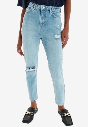 Trendyol blue High Waist Ripped Mom Jeans D2507AA8143B62GS_1