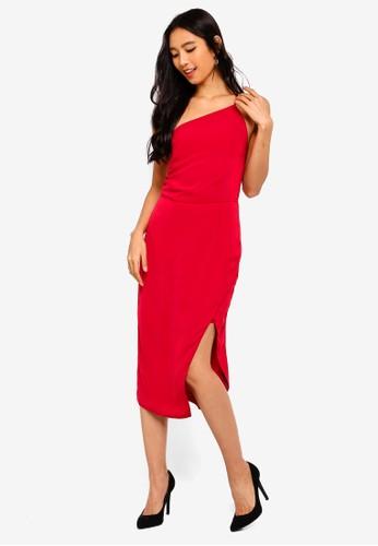 Preen & Proper red One Shoulder Cami Pencil Dress AF386AA9A5B286GS_1