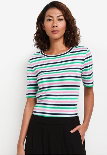 J.Crew green Perfect Fit Elbow Sleeve Tee In Stripe 81D8DAA8B23222GS_1