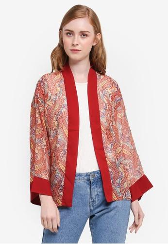 One-Ra BY DYNAS MOKHTAR red Chiffon Kimono 43BB5AA4A3C843GS_1