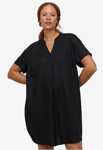 H&M black V-Neck Dress ADA50AA8777779GS_1
