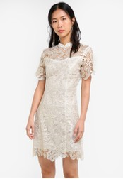 ZALORA white and gold Gold Crochet Lace Dress 69EC1AA0BDFE7DGS_1
