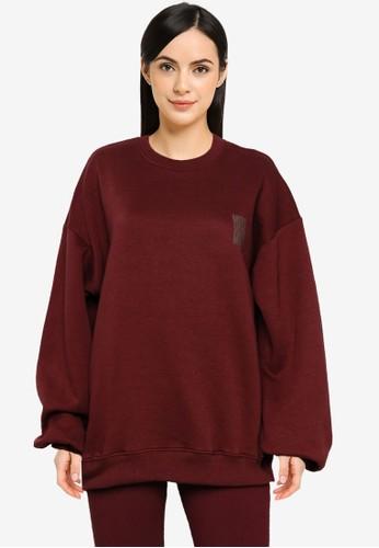 Public Desire red Graphic Oversized Sweatshirt C7A7DAA7EE0771GS_1