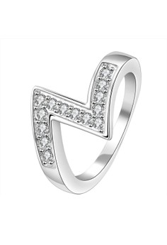 Treasure by B&D R154-7 Simple Letter Shape Zircon Inlay Stackable Ring