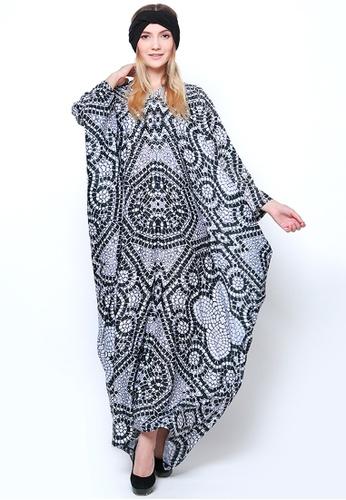 Kanzi by liza yahya black and white Kanzi Exclusive Long Sleeve Classic Kaftan 94CD8AA7CAECCBGS_1