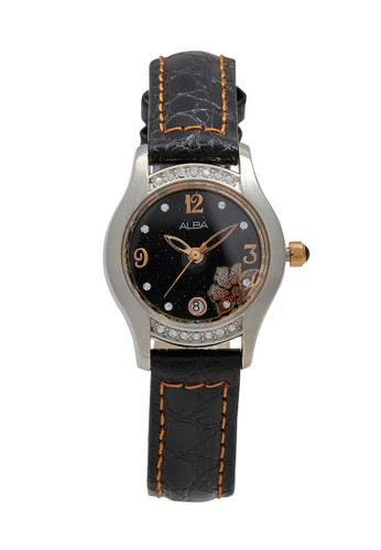 Alba black ALBA Jam Tangan Wanita - Black Silver - Leather Strap - AXT381 17B97AC8770794GS_1