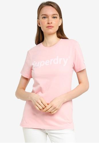 Superdry pink Reg Flock Entry Tee 67ADDAAAC56ABAGS_1