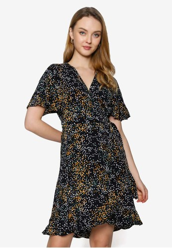 Saturday Club black Dotted Printed Dress With Attached Belt B11C0AA4578F3BGS_1