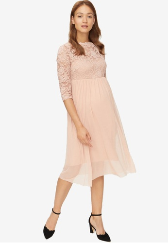 Mama.licious pink Maternity Mivana 3/4 Mesh Dress AF378AA22BE966GS_1